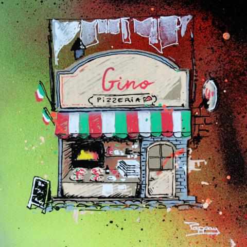 Chez Gino - technique mixte et grafffiti
