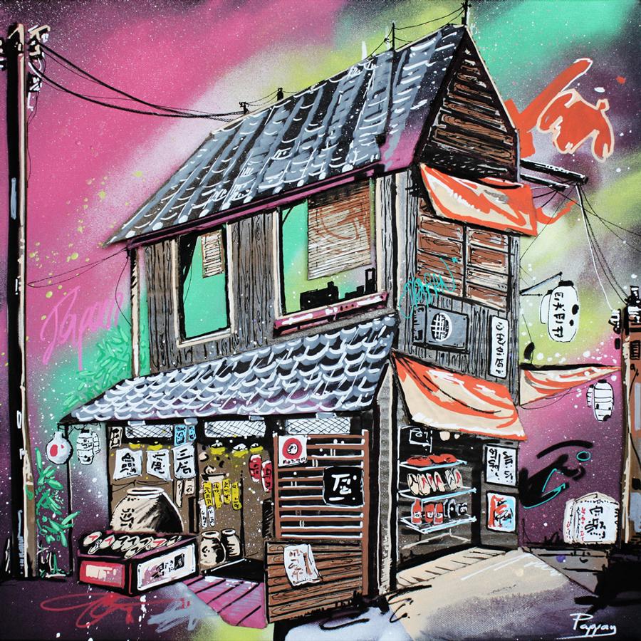Tatsuko shop 50x50cm - art urbain - Pappay, graffeur