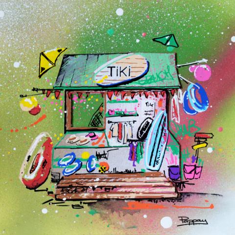 Tiki shop - technique mixte et graffiti, street art