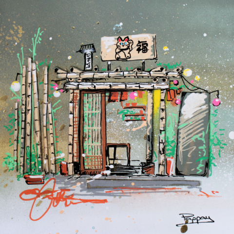 bamboo temple - Pappay artiste streetart