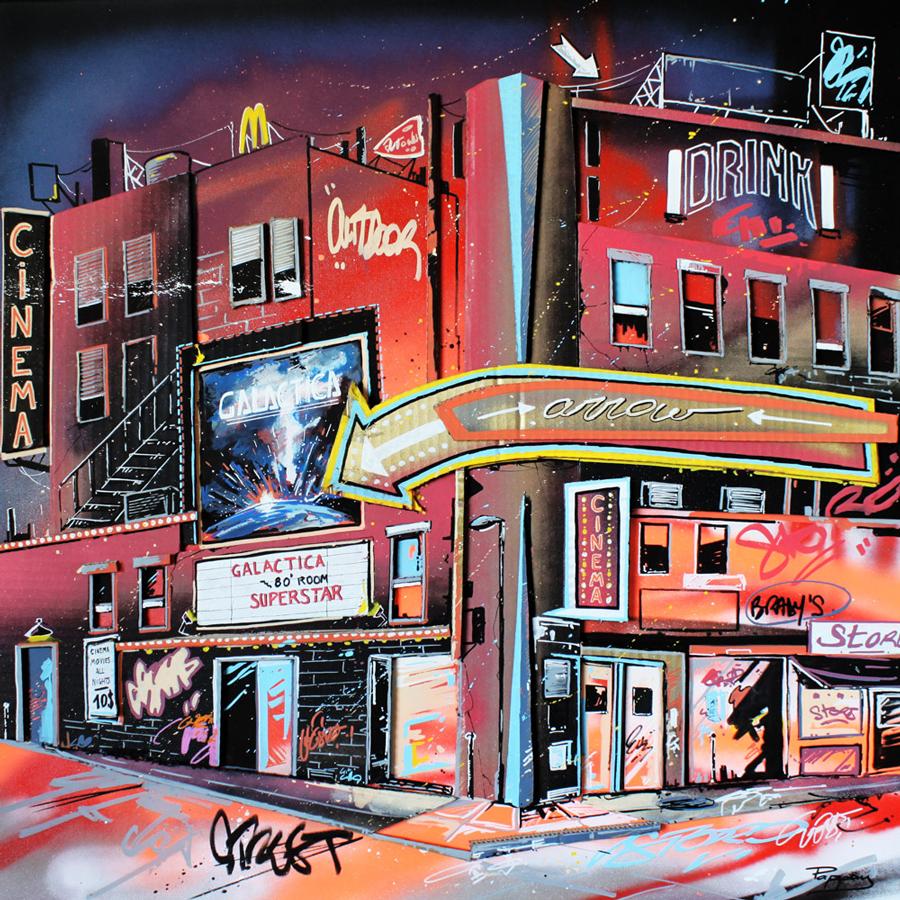 galactica - 80x80cm - street art, rue de new york