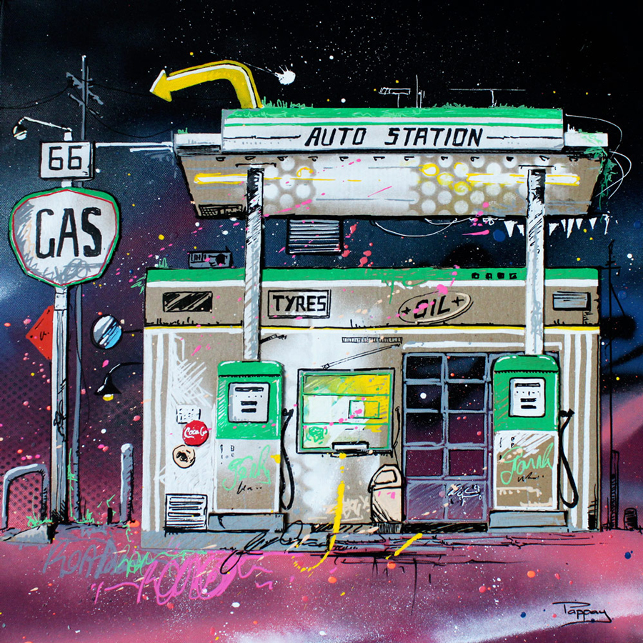 gas-station - 50x50cm - Pappay - technique mixte et graffiti
