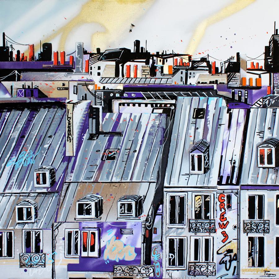 les gardiens - 80x80cm - Pappay, artiste graffeur