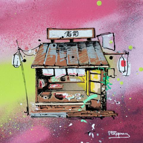 sushi bar - Pappay, artiste graffeur français