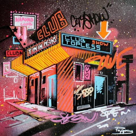The club - technique mixte et graffiti