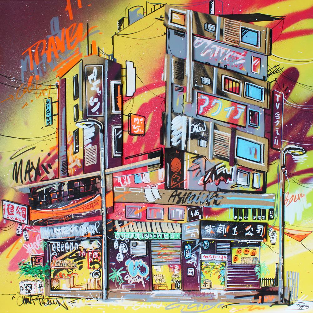 Unité 416 - 80x80cm - technique mixte et graffiti