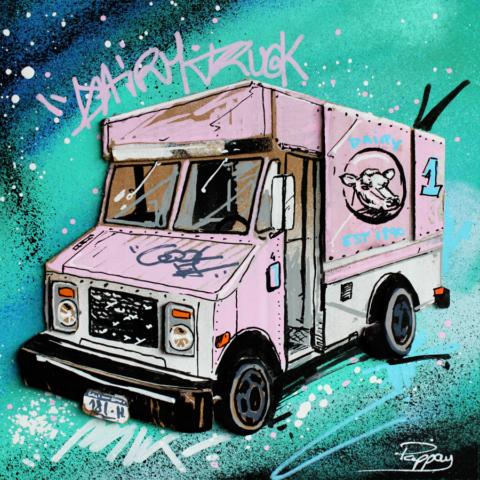 Dairy truck - technique mixte et graffiti