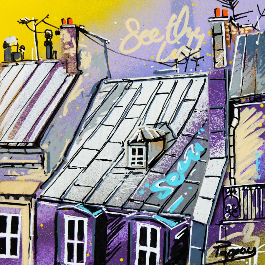 Rêves - toits de Paris - technique mixte et graffiti