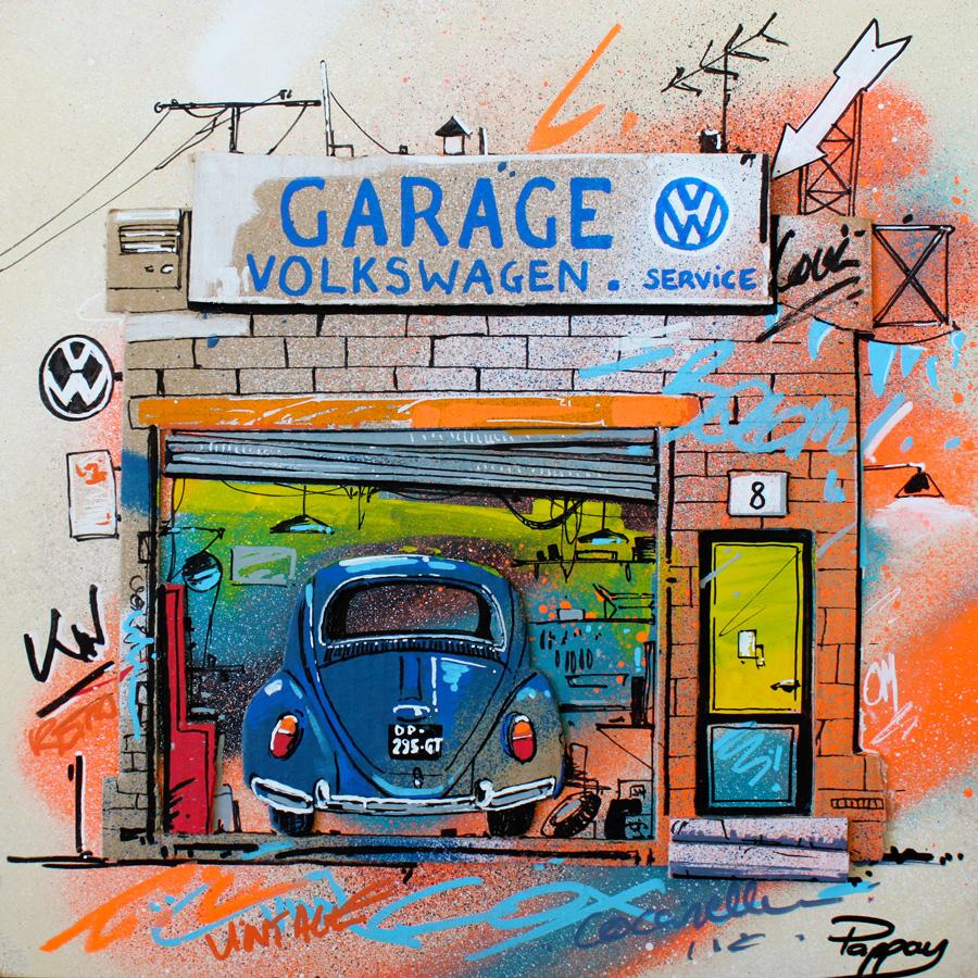 Garage VW - technique mixte et graffiti