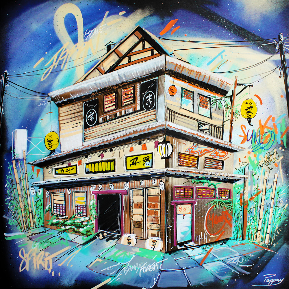 Minka - 80x80cm - technique mixte et graffiti