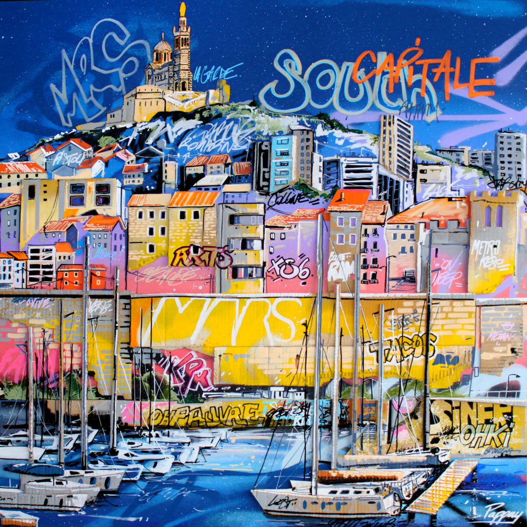 Cosmo city - 100x100cm - technique mixte et graffiti
