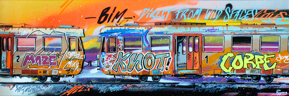 Old train 120x40cm - technique mixte et graffiti