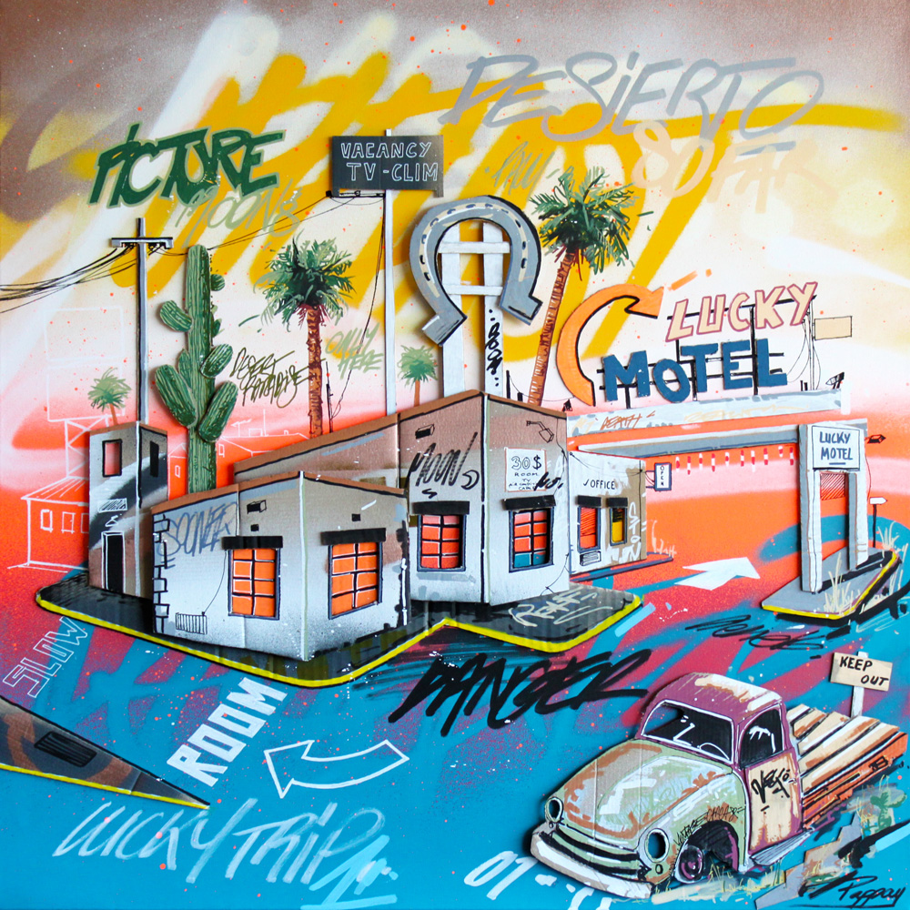 Lucky Motel - 80x80cm - technique mixte et graffiti Pappay artiste graffeur