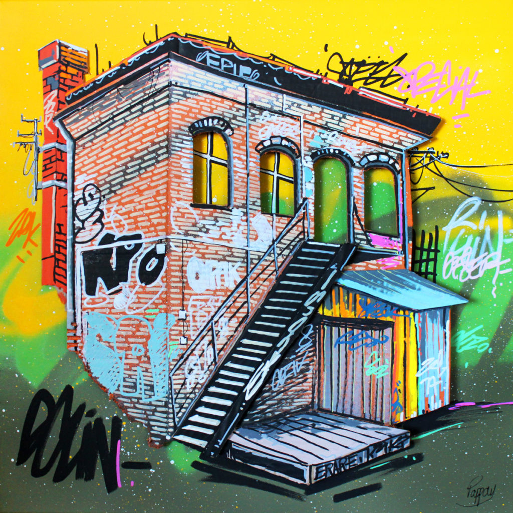 Old factory - 50x50cm - technique mixte et graffiti