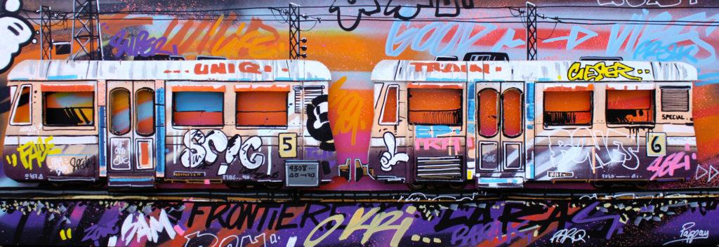 Colored metro 150x50cm - Pappay artiste graffeur